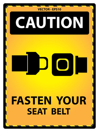seatbelt: Vector : Yellow Caution Plate For Safety Present By Fasten Your Seat Belt Text With Seat Belt Sign Isolated on White Background