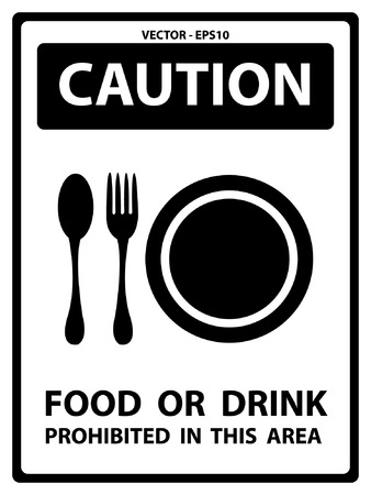 caution chemistry: Vector : Caution Plate For Safety Present By Food Or Drink Prohibited in This Area Text With Food Sign Isolated on White Background