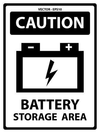 Caution Plate For Safety Present By Battery Storage Area Text With Battery Sign Isolated on White Background Vector