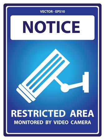 prohibido el paso: Placa Aviso azul para seguridad Presente Por aviso y ninguna violaci�n monitoreada por la c�mara de v�deo Texto Con CCTV signo aislado en el fondo blanco