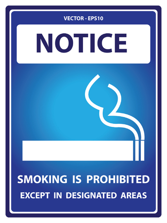 designated: Blue Notice Plate For Safety Present By Smoking is Prohibited Except in Designated Areas With Smoking Sign Isolated on White Background Illustration
