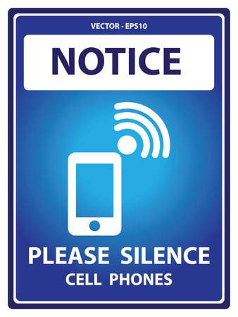 Blue Notice Plate For Safety Present By Please Silence Cell Phones With Mobile Phone Sign Isolated on White Background Stock Illustratie