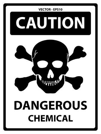 hazardous area sign: Precauci�n Plate Por Seguridad Presente Por precauci�n y peligroso Texto qu�mica con el cr�neo signo aislado en el fondo blanco