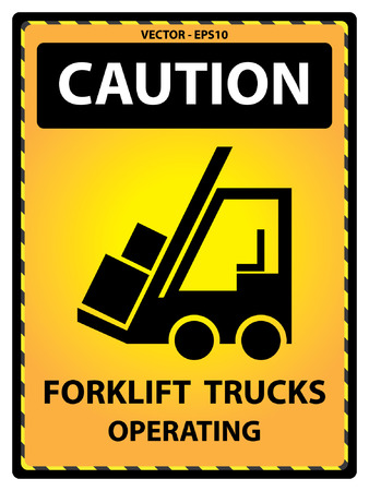 operating: Yellow Caution Plate For Safety Present By Caution and Forklift Trucks Operating Text With Forklift Sign Isolated on White Background