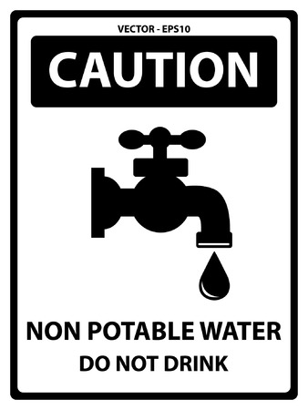 potable: Caution Plate For Safety Present By Caution and Non Potable Water Do Not Drink Text With Tap Water Or Water Supply Sign Isolated on White Background