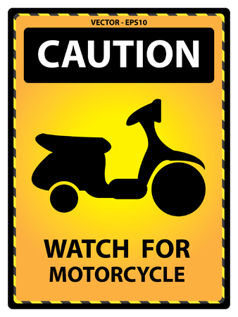 use regulations: Yellow Caution Plate For Safety Present By Watch For Motorcycle Text With Motorcycle Sign Isolated on White Background