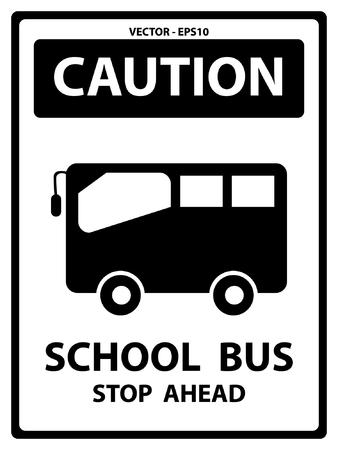 In bianco e nero targhetta precauzioni per la sicurezza Presente In arresto dello scuolabus avanti Testo Con Scuolabus segno isolato su sfondo bianco Archivio Fotografico - 34756499