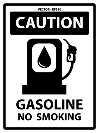 Black and White Caution Plate For Safety Present By Gasoline No Smoking Text With Gasoline Sign Isolated on White Background