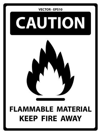 Vector : Black and White Caution Plate For Safety Present By Flammable Material Keep Fire Away Text With Flame Sign Isolated on White Background
