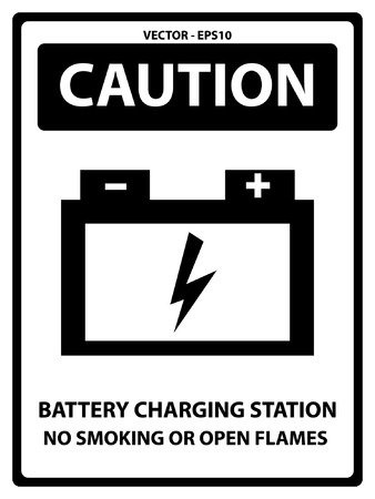 Black and White Caution Plate For Safety Present By Battery Charging Station No Smoking Or Open Flames Text With Battery Sign Isolated on White Background Vector