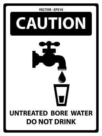 environmen: Black and White Caution Plate For Safety Present By Untreated Bore Water Text With Tap Water Or Water Supply and Water Glass Sign Isolated on White Background
