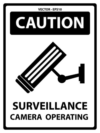 caution cctv: Black and White Caution Plate For Safety Present By Surveillance Camera Operating Text With CCTV Sign Isolated on White Background Illustration