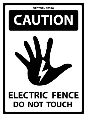 do not touch: Vector : Black and White Caution Plate For Safety Present By Electric Fence Do Not Touch Text With Hand and Electric or Thunderbolt Sign Isolated on White Background
