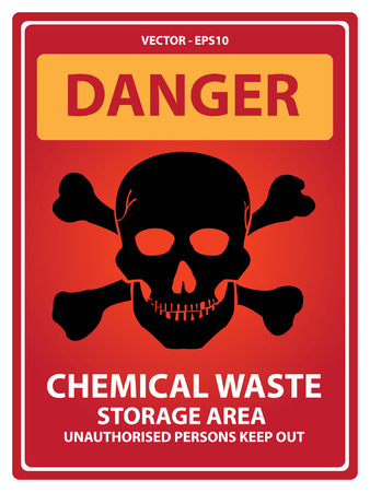 Red Danger Plate For Safety Present By Danger and Chemical Waste Storage Area Unauthorized Persons Keep Out Text With Skull Sign Isolated on White Background Vector