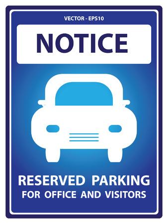 Avviso Blue Plate Per Presente Sicurezza Per Notice e parcheggio riservato per Ufficio e visitatori Testo Con Car segno isolato su sfondo bianco Archivio Fotografico - 34756522