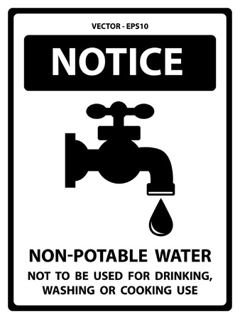 harmful to the environment: Black and White Notice Plate For Safety Present By Notice and Non-Potable Water Not To Be Used For Drinking, Washing Or Cooking Use Text With Tap Water Sign Isolated on White Background Illustration