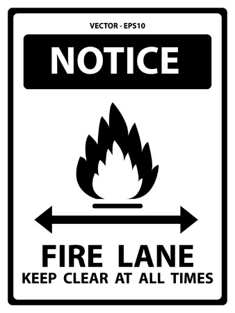 traffic violation: Black and White Notice Plate For Safety Present By Notice and Fire Lane Keep Clear At All Times Text With Flame Sign Isolated on White Background