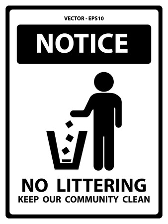 littering: Black and White Notice Plate For Safety Present By Notice and No Littering Keep Our Community Clean Text With Littering Sign Isolated on White Background