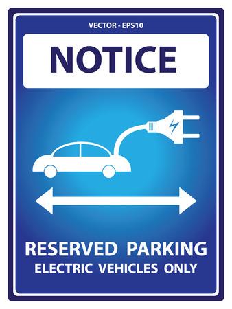 Avviso Blue Plate Per Presente Sicurezza Per Notice e riservato parcheggio solo veicoli elettrici Testo Con auto elettrica segno isolato su sfondo bianco Archivio Fotografico - 34756901