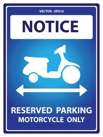 Vector: Avviso Blue Plate Per Presente Sicurezza Per Notice e riservato parcheggio Moto Solo Testo Con Motorcycle segno isolato su sfondo bianco Archivio Fotografico - 34757042