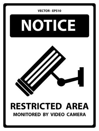 area restringida: Vector: Blanco y Negro Aviso Plate Por Seguridad Presente Por Notificaci�n y �rea Restringida supervisada por la c�mara de v�deo Texto Con CCTV signo aislado en el fondo blanco Vectores