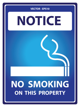 discontinue: Vector : Blue Notice Plate For Safety Present By No Smoking On This Property With Smoking Sign Isolated on White Background Illustration