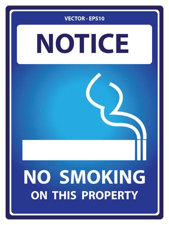 carcinogen: Vector: Placa Aviso azul para seguridad Presente Por No Fumar En esta propiedad con fumar signo aislado en el fondo blanco