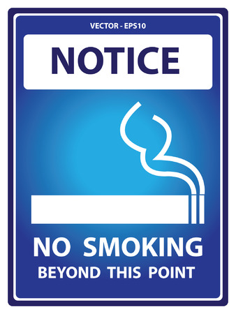 hazard damage: Vector : Blue Notice Plate For Safety Present By No Smoking Beyond This Point With Smoking Sign Isolated on White Background