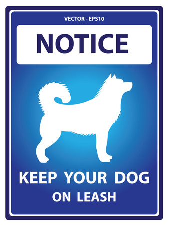 Vector : Blue Notice Plate For Safety Present By Keep Your Dog On Leash With Dog Sign Isolated on White Background Vector