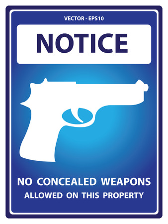 concealed: Blue Notice Plate For Safety Present By No Concealed Weapons Allowed on This Property With Gun Sign Isolated on White Background