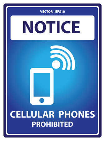 cell phones not allowed: Blue Notice Plate For Safety Present By Cellular Phones Prohibited With Mobile Phone Sign Isolated on White Background
