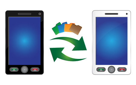 public transfer: Online Communication and Data Transfer Concept Present By Black and White Smart Phone With Data Transfer Icon Isolated on White Background