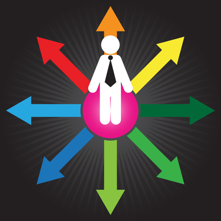 Business Decision or Business Direction Concept Present By Businessman Standing on Colorful Arrow and Trying To Make A Choice in Black Shiny Background photo