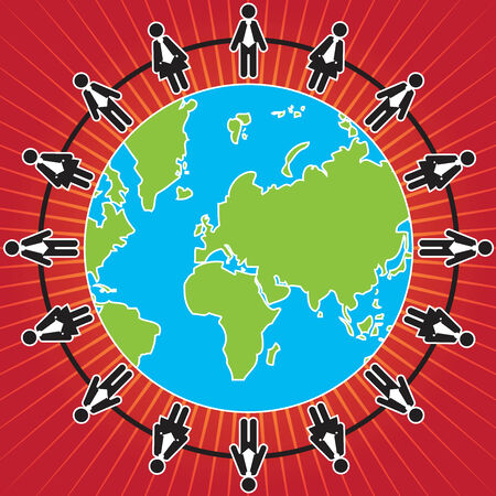 mlm: Business MLM or Social Network Concept Present By The Businessman and Businesswoman Connected Together in Red Shiny Background