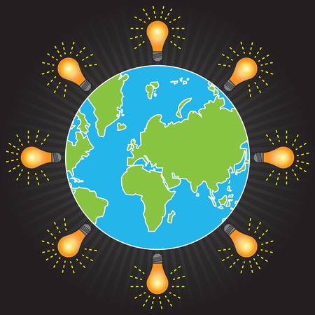 stop global warming: Save The Earth, Stop Global Warming, Environmental Or Green Concept Present By The Earth With Light Bulb Around in Black Shiny Background