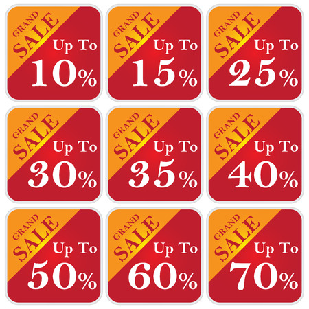 grand sale: Discount Price Tag For Every Shopping Season, Grand Sale Up To 10 - 70 Percent Isolated on White Background