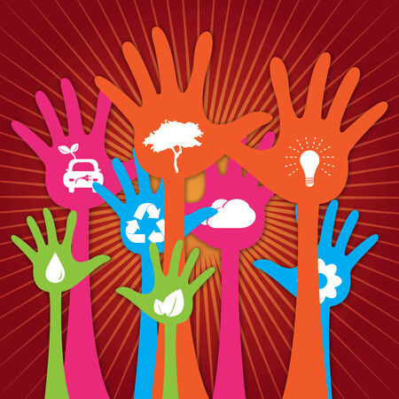 Colorful Raised Hands With White Icon Inside For Think Green Or Sustainable Development   Environment Concept in Red Shiny Background  photo