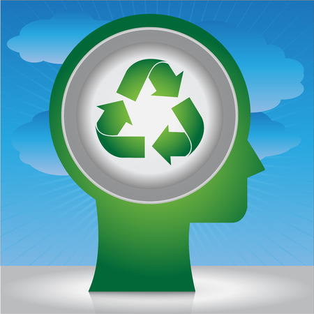 stop global warming: Save The Earth, Stop Global Warming Or Recycle Concept Present By Head With Green Recycle Sign Inside in Blue Sky Background Stock Photo