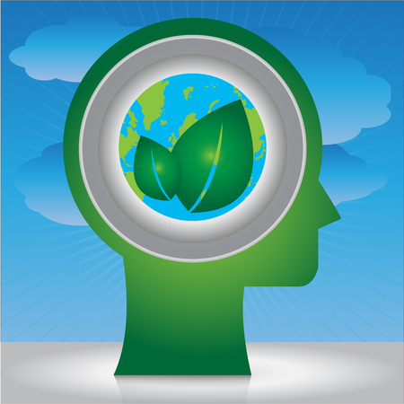 stop global warming: Save The Earth, Stop Global Warming Or Recycle Concept Present By Head With Earth and Green Leaf Icon Inside in Blue Sky Background Stock Photo