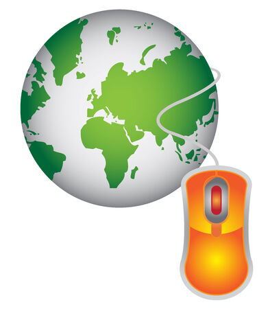 Technology or Internet and Online Concept Present By Green Globe With Orange Mouse Isolated on White Background  photo