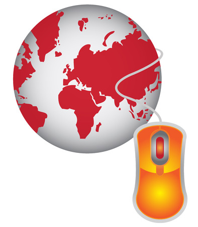 Technology or Internet and Online Concept Present By Red Globe With Orange Mouse Isolated on White Background  photo
