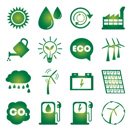 Save The Earth or Ecology Concept Present By Green Ecology Icons Set Isolated on White Background  photo