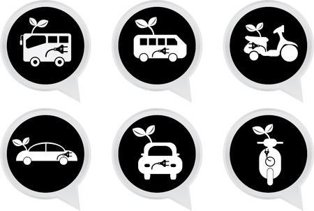 Alternative Transportation Technology Concept Present By White Hybrid Transportation Vehicles Sign on Black Icon Set Isolated on White Background  photo