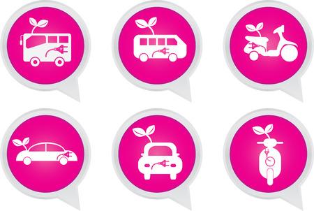 Alternative Transportation Technology Concept Present By White Hybrid Transportation Vehicles Sign on Pink Icon Set Isolated on White Background  photo