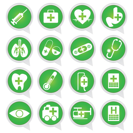 Set of White Medical Tools on Green Icons Isolated on White Background  photo