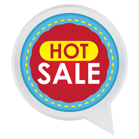 grand sale sticker: Season Sale Sticker or Label Present By Hot Sale on Blue and Red Icon Isolated on White Background