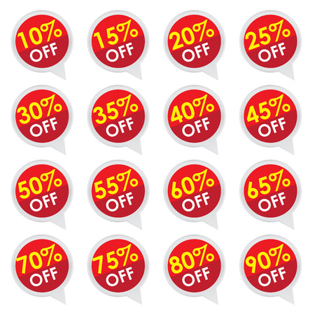 Sticker or Label For Marketing Campaign, 10-90  Off With Red Icon Isolated on White Background  photo