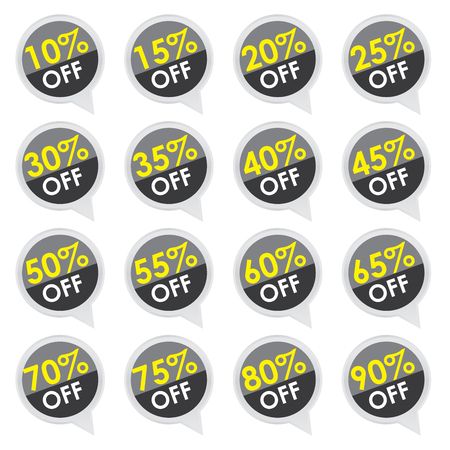Sticker or Label For Marketing Campaign, 10-90  Off With Black Icon Isolated on White Background  photo