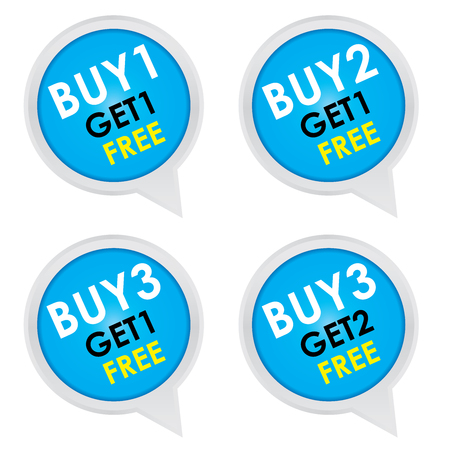 Sticker or Label For Marketing Campaign, Buy 1 Get 1 Free, Buy 2 Get 1 Free, Buy 3 Get 1 Free and Buy 3 Get 2 Free With Blue Icon Isolated on White Background