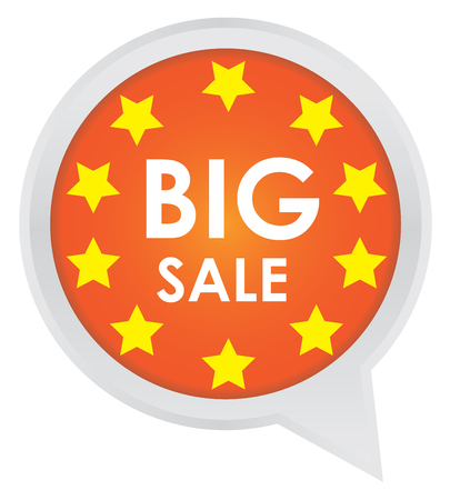 Season Sale Sticker or Label Present By Big Sale on Orange Icon Isolated on White Background  photo